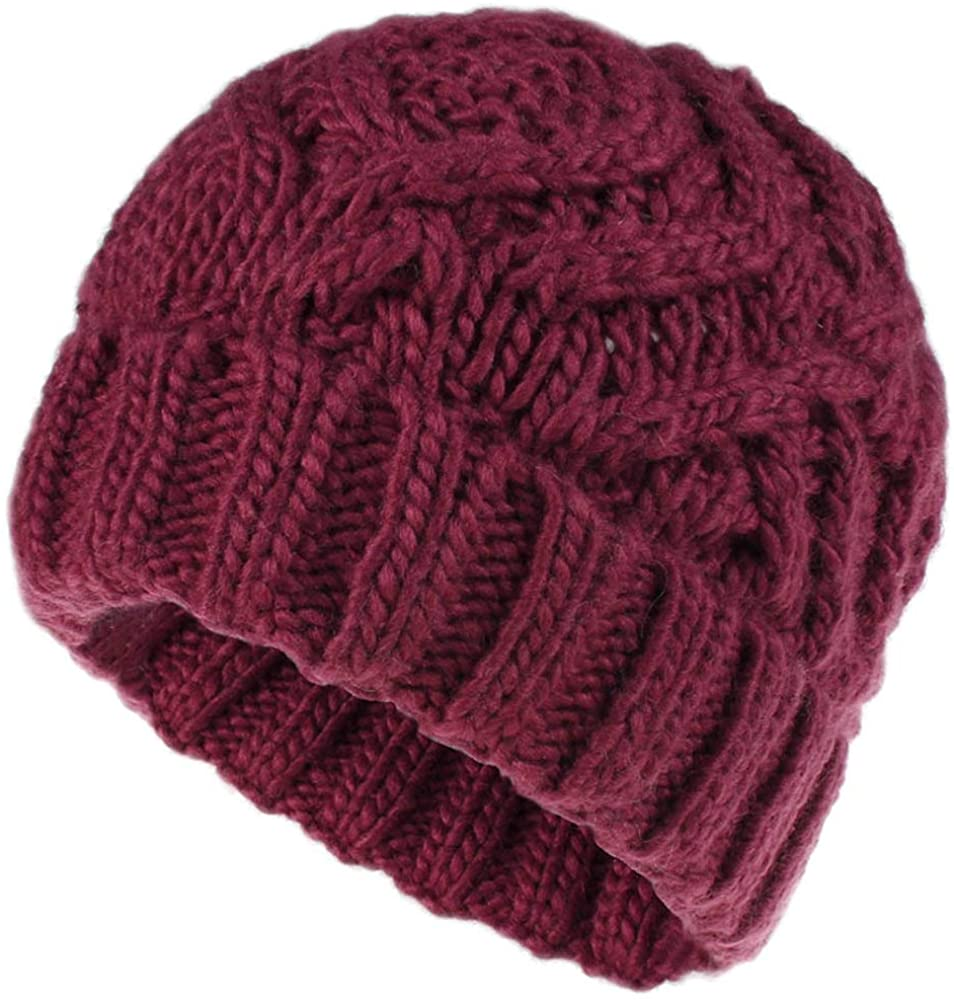 Obosoyo Winter Hats Women Knitted Ski Hat Thick Warm Beanie Skull Cap for Girls Chunky Hat