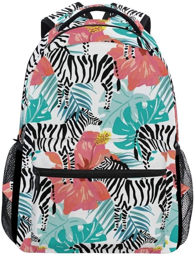 ALAZA Zebras and Hibiscus Flowers Durable Backpack Book College School Travel Backbag Shoulder Bag for Women Girls Men Boys