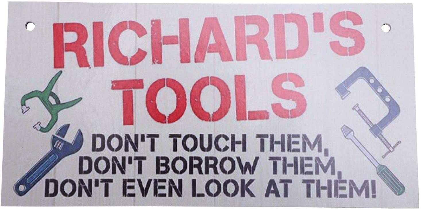 INNAPER Richard's Tools Man Cave Garage Wood Signs Hanging Plaque Garden Gift Crafts 10x5 Inches(49BW883)
