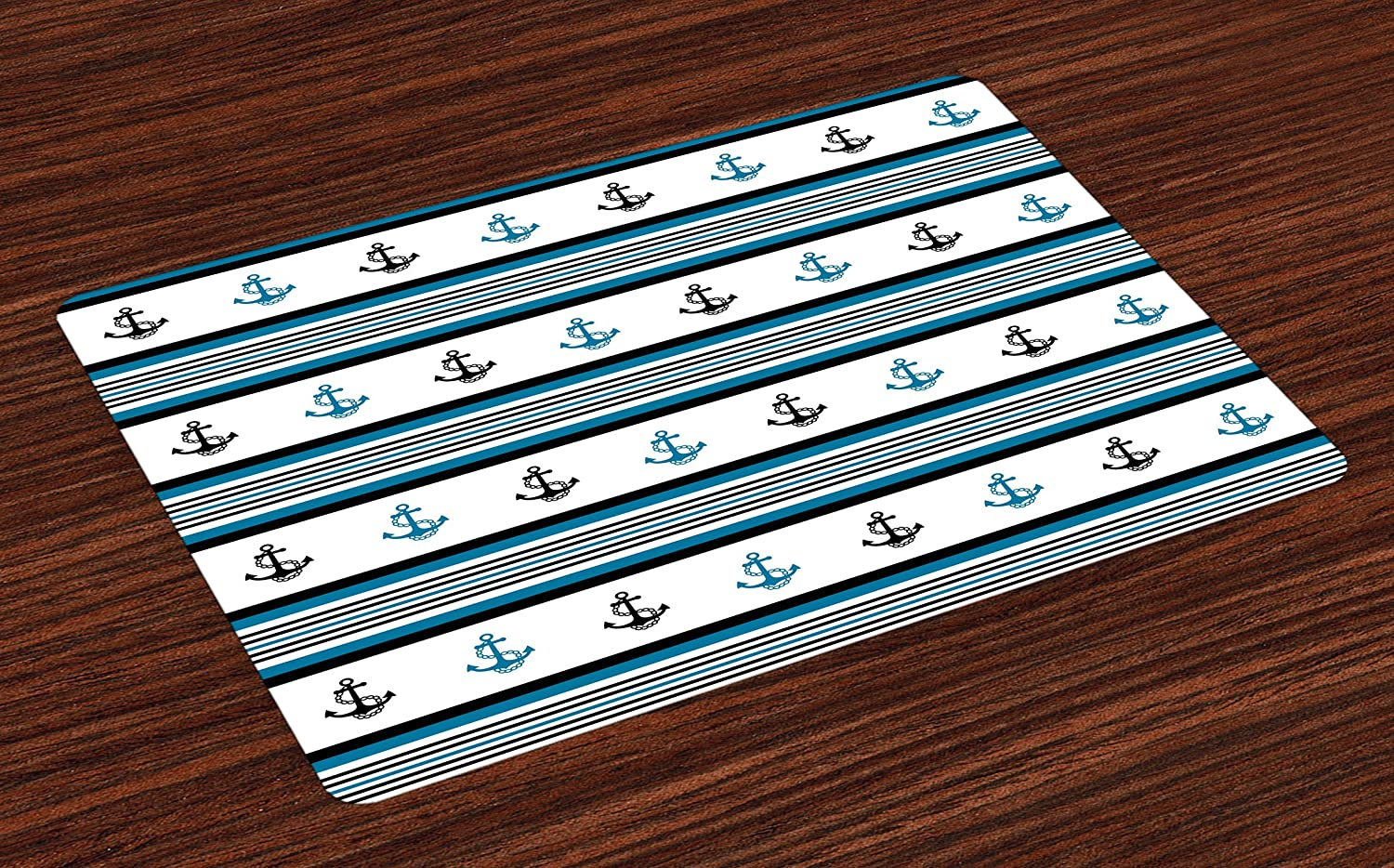 Ambesonne Anchor Place Mats Set of 4, Borders with Stripes and Anchor Hipster Design Retro Style Maritime, Washable Fabric Placemats for Dining Room Kitchen Table Decor, Blue Black White