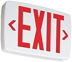 Lithonia Lighting EXR-LED-EL-M6 Battery Backup Contractor Select LED Exit Sign White Housing Red Letter 120/277 Volt