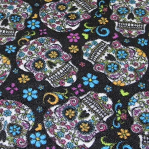 Sugar Skulls Black Anti-Pill Fleece Fabric by The Yard