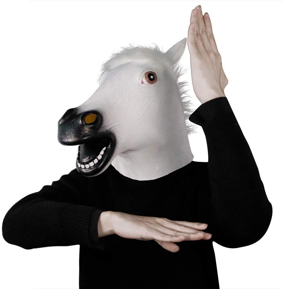 White Horse Mask,Funny Halloween Costumes Party Prank Man Latex Animal Cosplay Full Head Adult (White Horse)