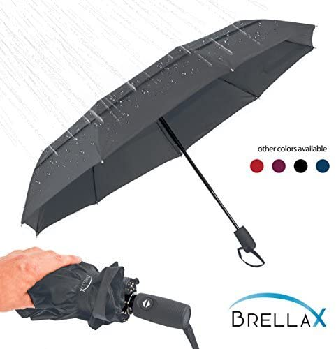 Brellax Travel Umbrella Windproof for Women and Men - Compact Umbrella with Case - Lightweight, Portable - Auto Open and Close - Ergonomic Handle - Double Canopy - Multiple Colors