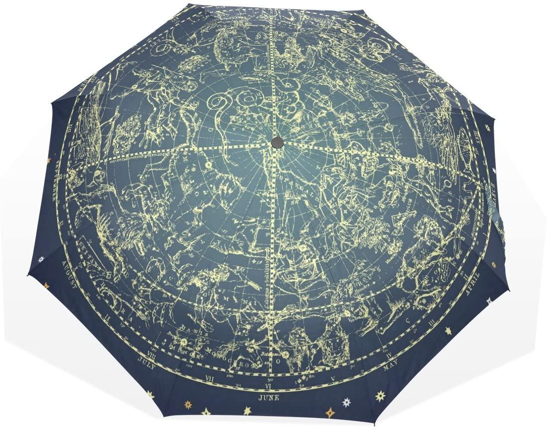HMWR Umbrella Windproof Compact 12 Constellation Universe Galaxy Space Stars Foldable Umbrella
