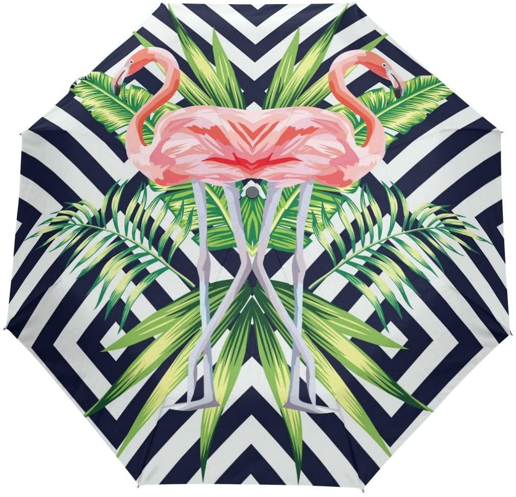 WOZO Banana Cheveron Flamingo 3 Folds Auto Open Close Umbrella