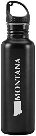 Montana-State Outline-24-ounce Sport Water Bottle-Black