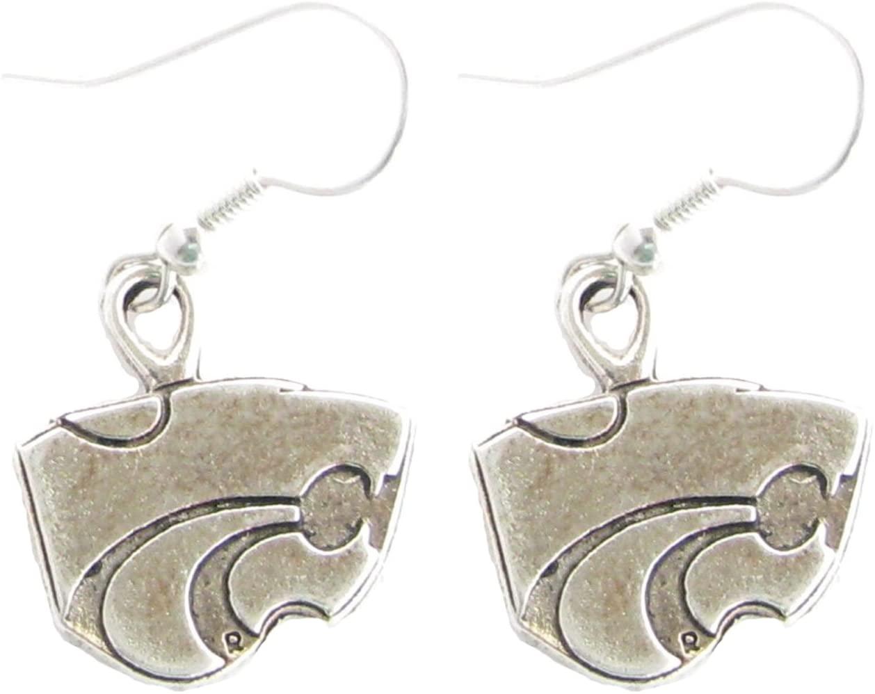 Sports Accessory Store Kansas State Wildcats KSU Silver Fashion French Hook Earrings