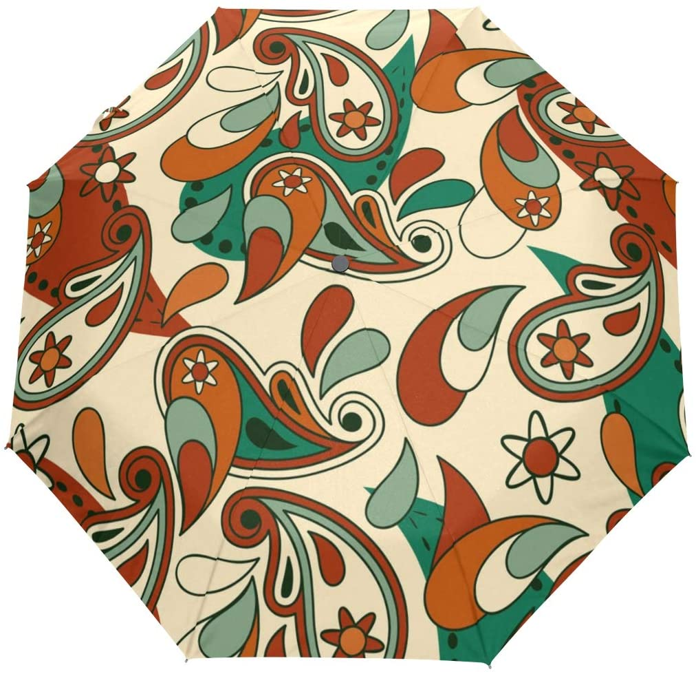 FORMRS Travel Umbrella, Vintage Abstract Auto Open Umbrella Compact Folding Sun Rain Protection, Windproof for Kids Women Men