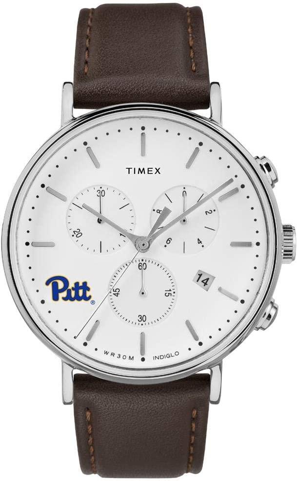 Timex MensPitt University Panthers Watch Chronograph Leather Band Watch