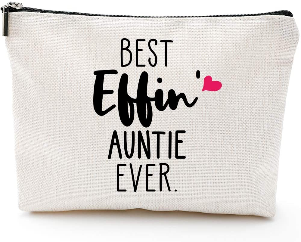 Best Effin' Auntie Ever-Funny Aunt gifts,Auntie gifts from Niece,Nephew,Best Aunt Gifts,Makeup Bag, Make Up Pouch,Unicorn, Funny Handle Bag, Prize for Aunt