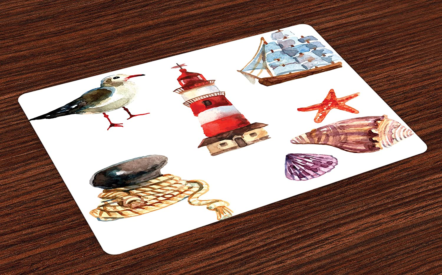Ambesonne Nautical Place Mats Set of 4, Nautical Theme Elements Seagull Boat Lighthouse Shell Starfish Island Watercolor, Washable Fabric Placemats for Dining Room Kitchen Table Decor, Multicolor