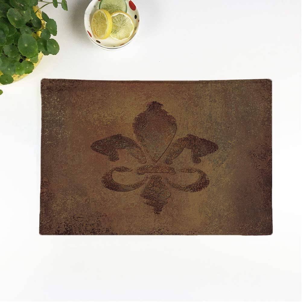 rouihot Set of 4 Placemats Warm Earth Brown Old and Faded Fleur De Lis Non-Slip Doily Place Mat for Dining Kitchen Table