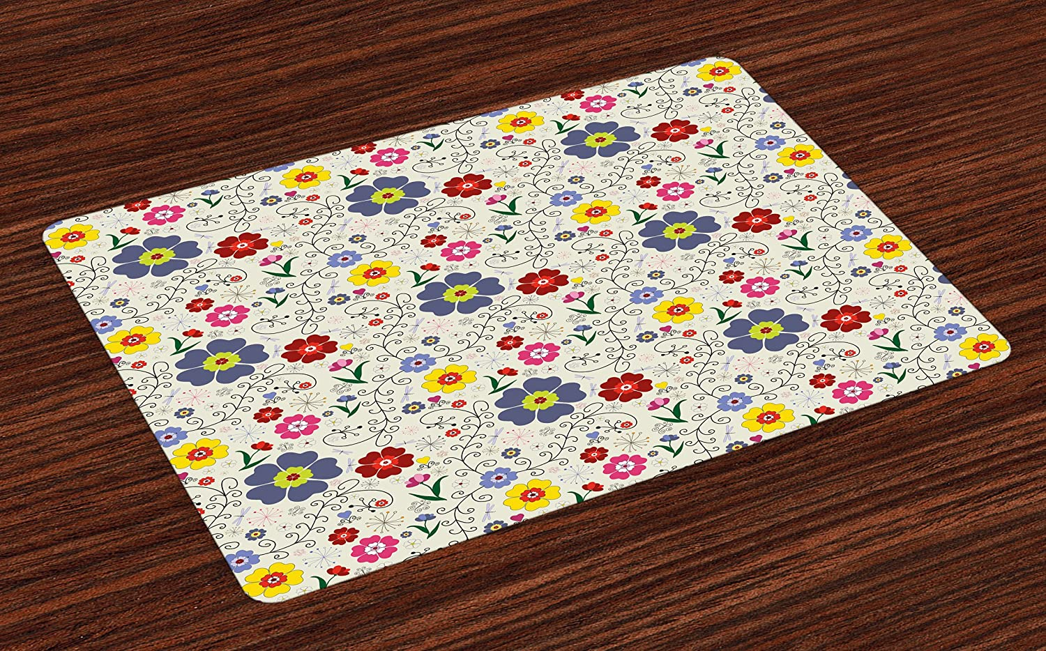Ambesonne Floral Place Mats Set of 4, Flower Pattern with Butterflies and Dragonflies Colorful Spring Nature Illustration, Washable Fabric Placemats for Dining Room Kitchen Table Decor, Multicolor