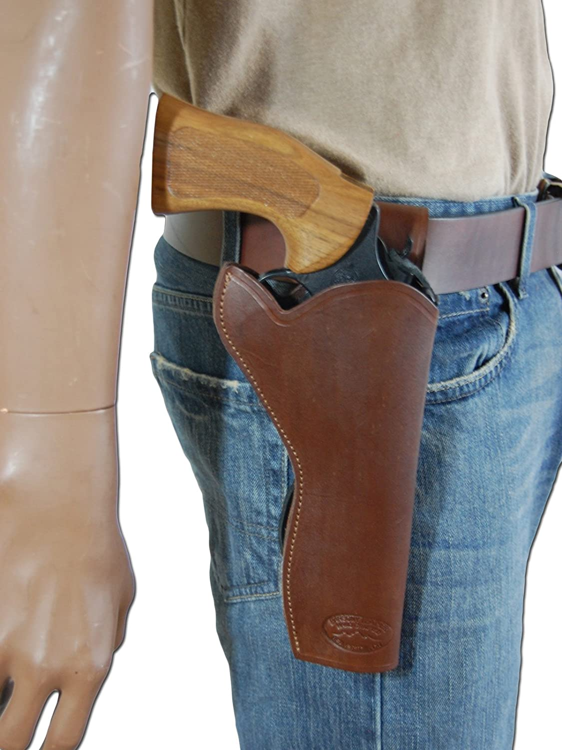Barsony New Brown Leather 49-er Style Gun Holster for 6 inch Revolvers