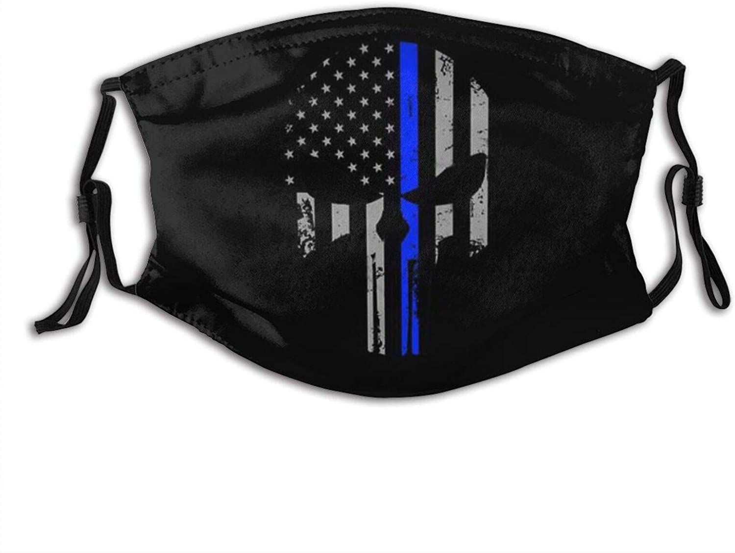 Us Police Flag Thin Blue Line-Face Mask Balaclava, Washable&Reusable With 2 Filters,For Adult Women Men&Teens