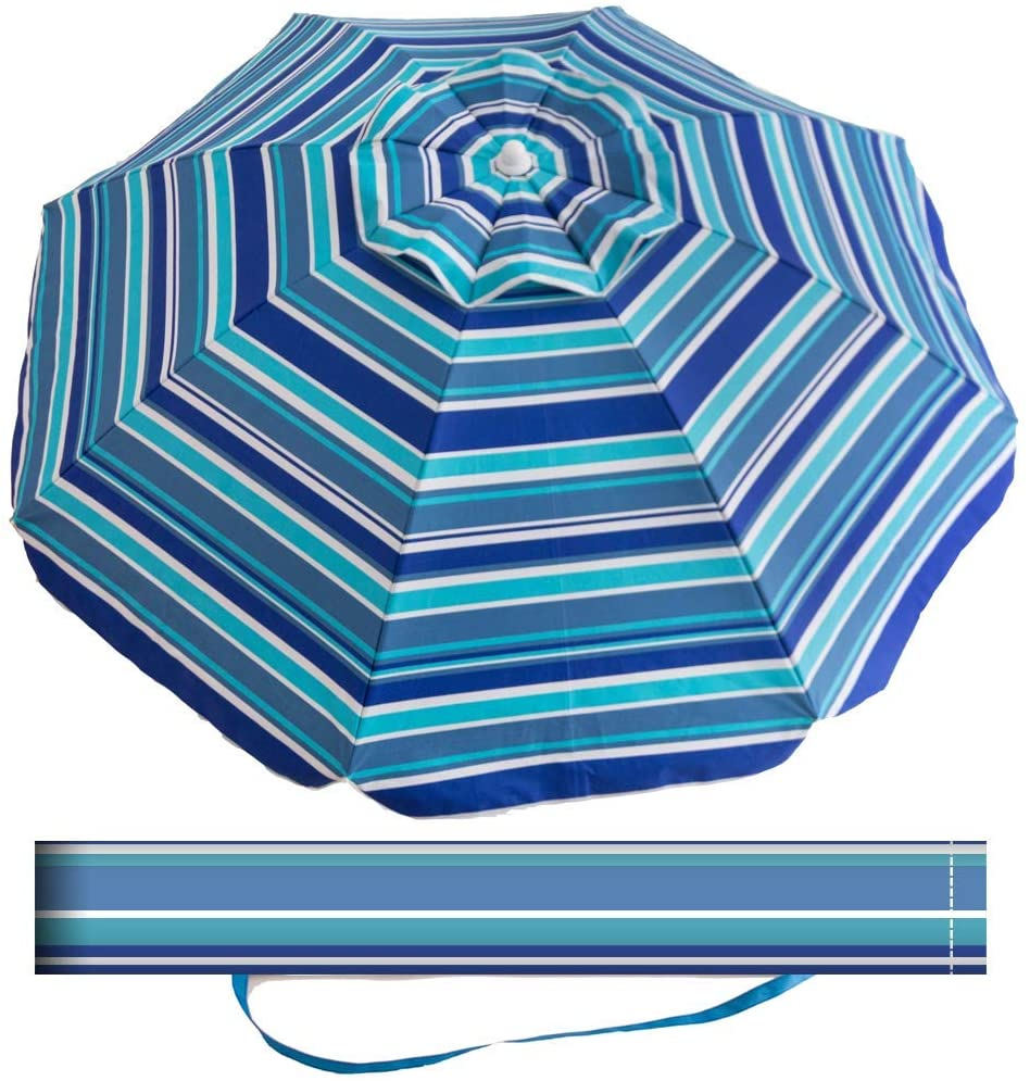 Aclumsy 7 Portable Beach Umbrella with Tilt and Silver Coating Inside, Air Vent Parasol Sun Shelter, Carry Bag Included (Dark Blue/Green/White Stripe)