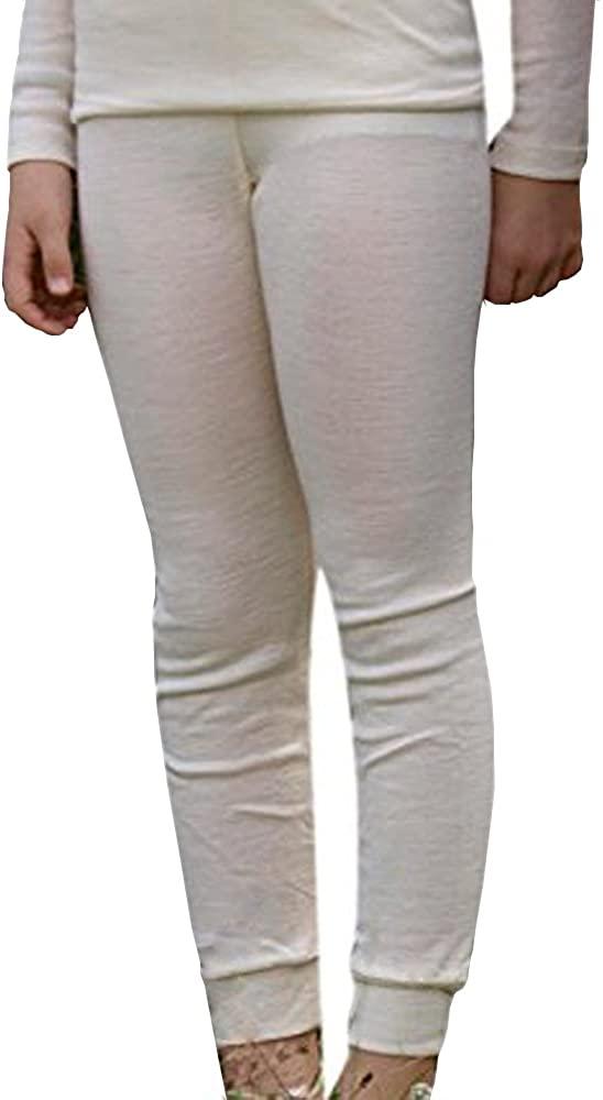 Kids Leggings Pajama Pants Thermal Base Layer, Organic Merino Wool Silk, Sizes 2-10 Years