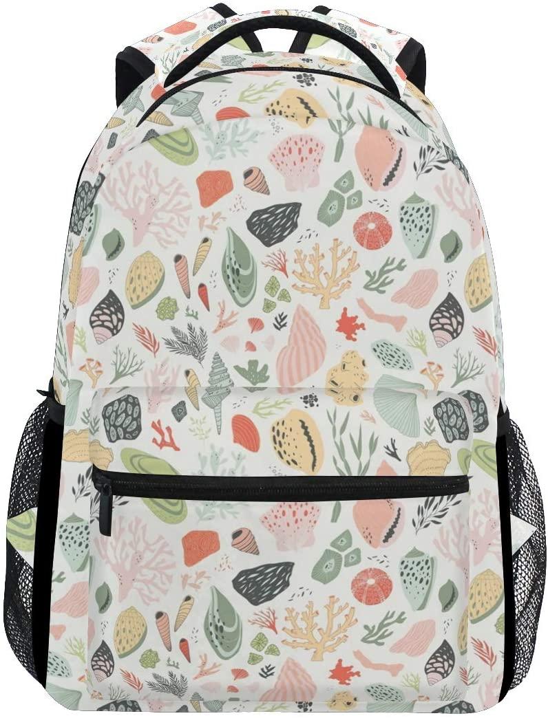 Stylish Shells Corals Backpack- Lightweight School College Travel Bags, ChunBB 16 x 11.5 x 8