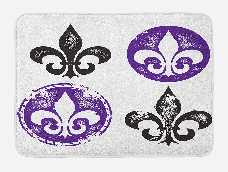 Ambesonne Fleur De Lis Bath Mat, Arrangement of Fleur De Lis Designs Silhouettes Vintage Spiral Art, Plush Bathroom Decor Mat with Non Slip Backing, 29.5