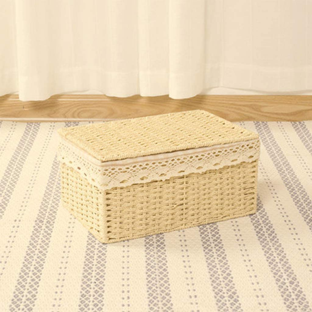 RTYUIO Paper Rope Woven Lidded Stackable Storage Baskets, Braided Multipurpose Organizer Bins with Lid Perfect for Storing Household Items - Handwoven - Beige & Brown