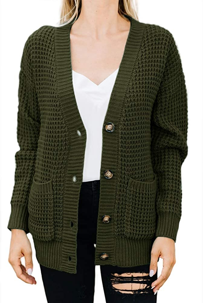 Imily Bela Womens Button Down Cardigans Open Front Long Sleeve Waffle Knit Fall Sweaters Coat with Pockets