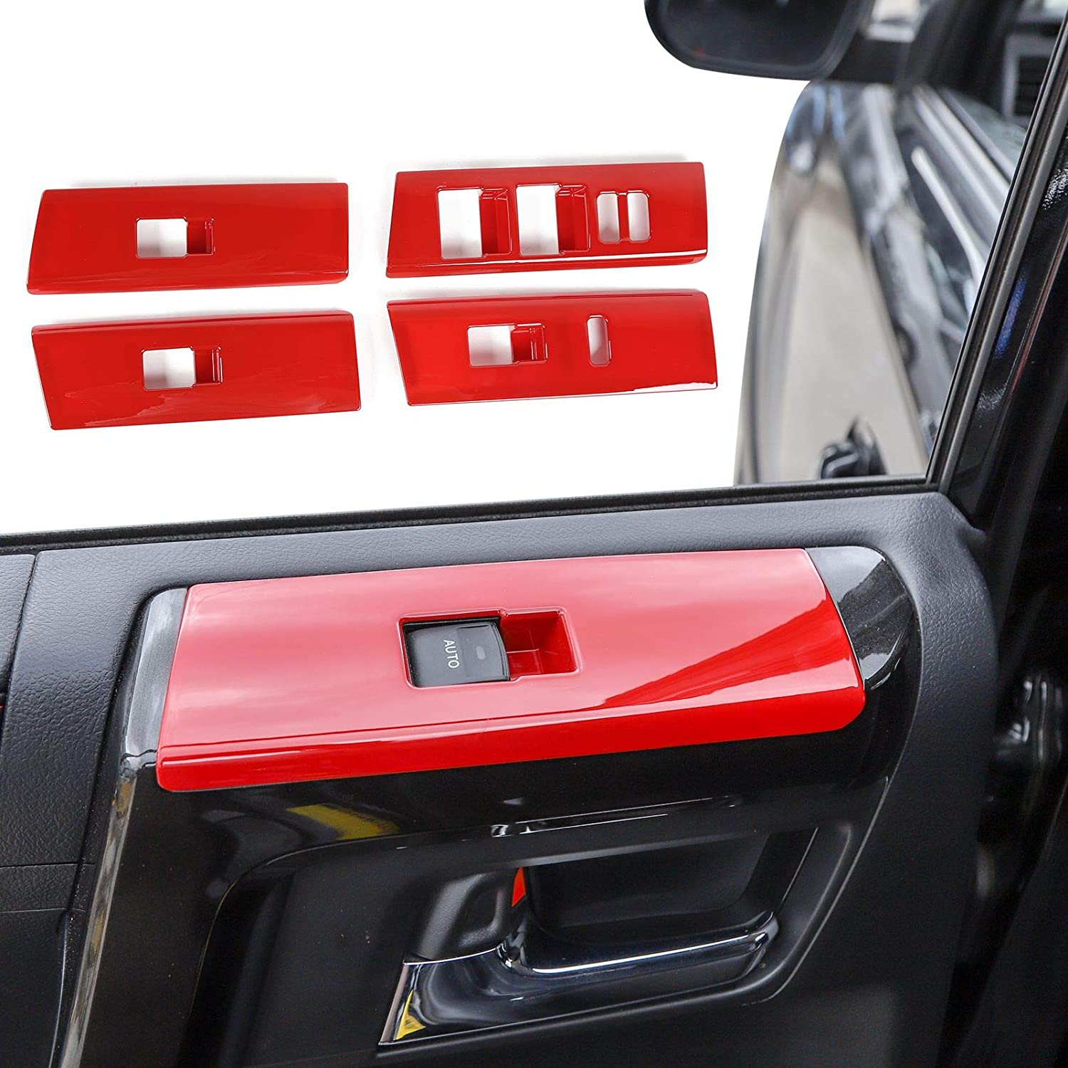 Voodonala for 4runner Window Lift Switch Decoration Trim fit Toyota 4runner SUV 2010-2019 NOT Fit Right Hand Drive(Red)