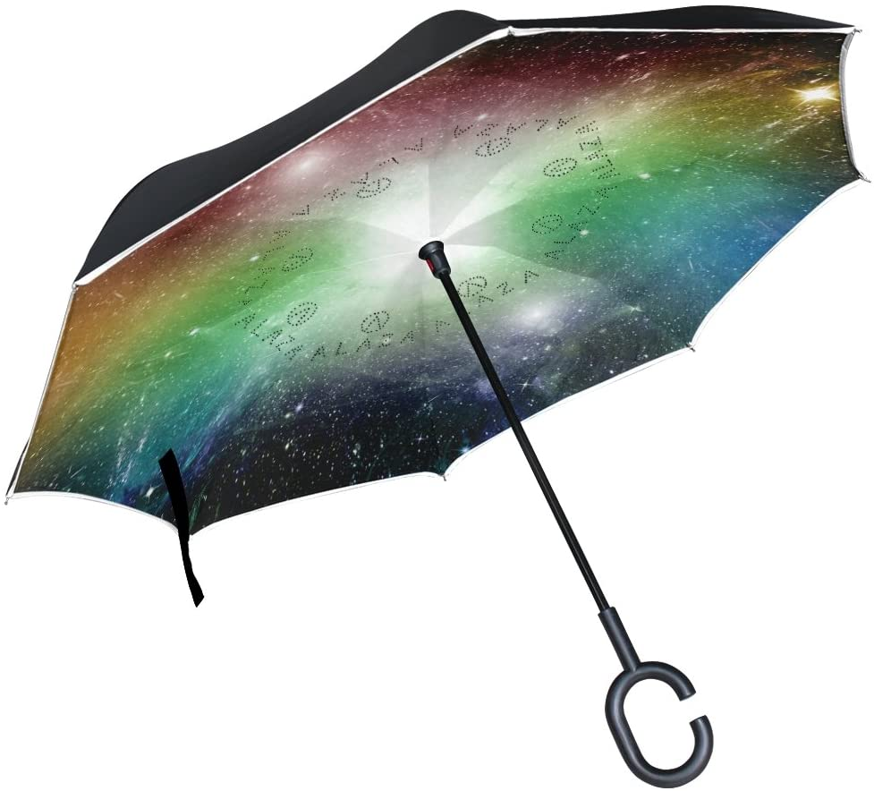 ALAZA Inverted Umbrella Rainbow Colored Shiny Galaxy Star Dust UV Anti Windproof Reverse Folding Umbrellas with C-Shape Handle for Car Outdoor Travel