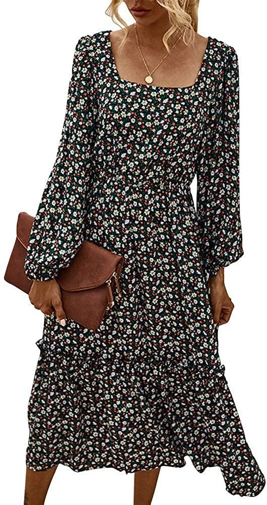 MASKAZU Womens Vintage Floral Square Neck Long Sleeve Midi Dress