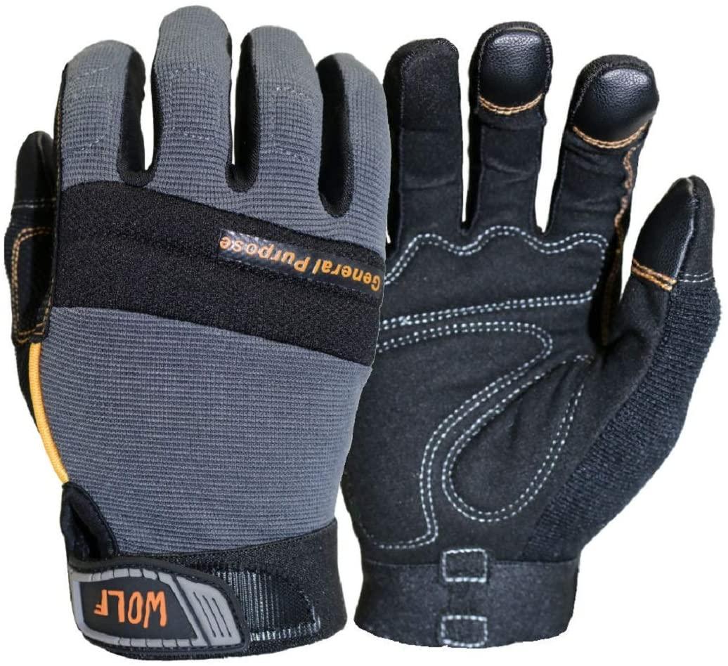 WOLF Mechanic All-purpose Stretchable Flex Grip Work Glove, Dexterity (2, Large)