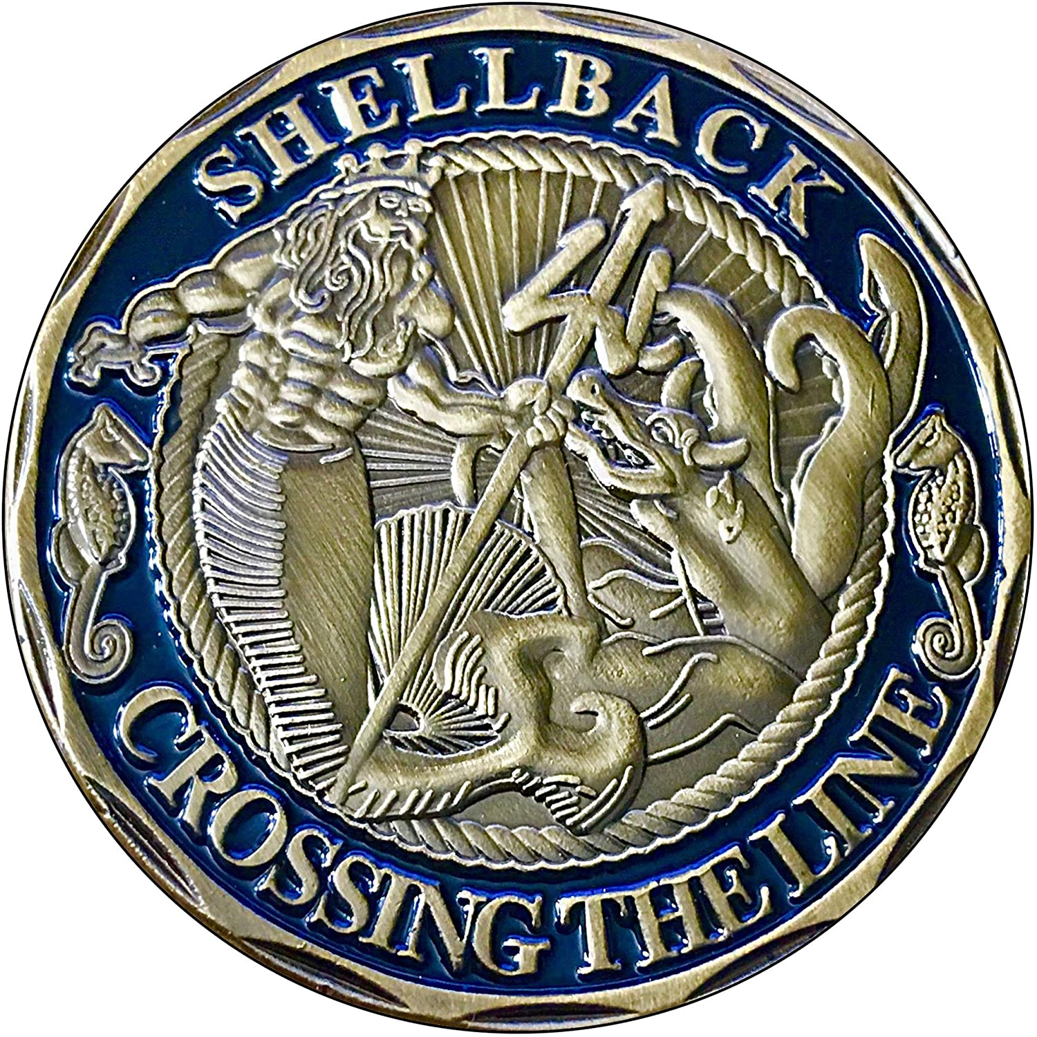 Brotherhood Vintage Gas Sign Reproduction Vintage Metal Signs Round Metal Tin Sign for Garage and Home 8 Inch Diameter – US Navy Shellback Crossing The Line