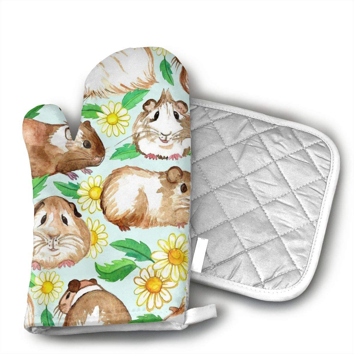 Guinea Pigs and Daisies Oven Mitts and Potholders (2-Piece Sets) - Kitchen Set with Cotton Heat Resistant,Oven Gloves for BBQ Cooking Baking Grilling
