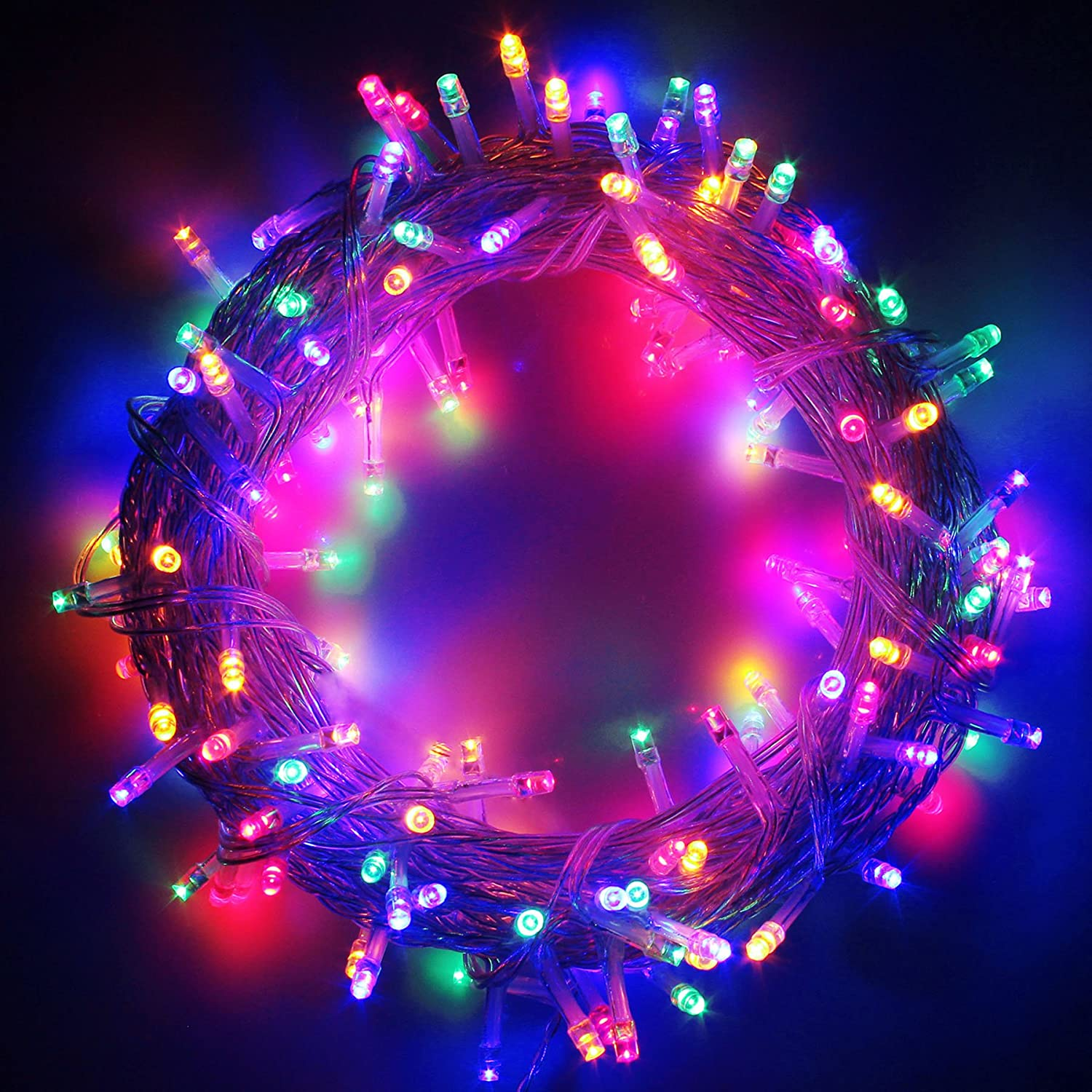 LED Christmas Lights on Clear Cable with 8 Light Effects, Low Voltage LED String Fairy Lights Ideal for Christmas Tree Garden Wedding Party Festival Decoration (300 LEDs,Multi Color)