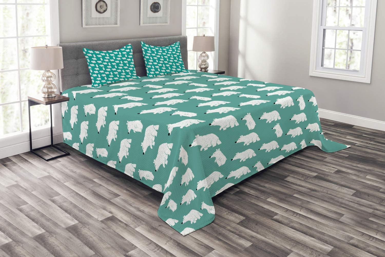Ambesonne Bear Bedspread, Polar Bear in Various Funny Poses Arctic Circle Wild Nordic Illustration, Decorative Quilted 3 Piece Coverlet Set with 2 Pillow Shams, Queen Size, Teal White and Black