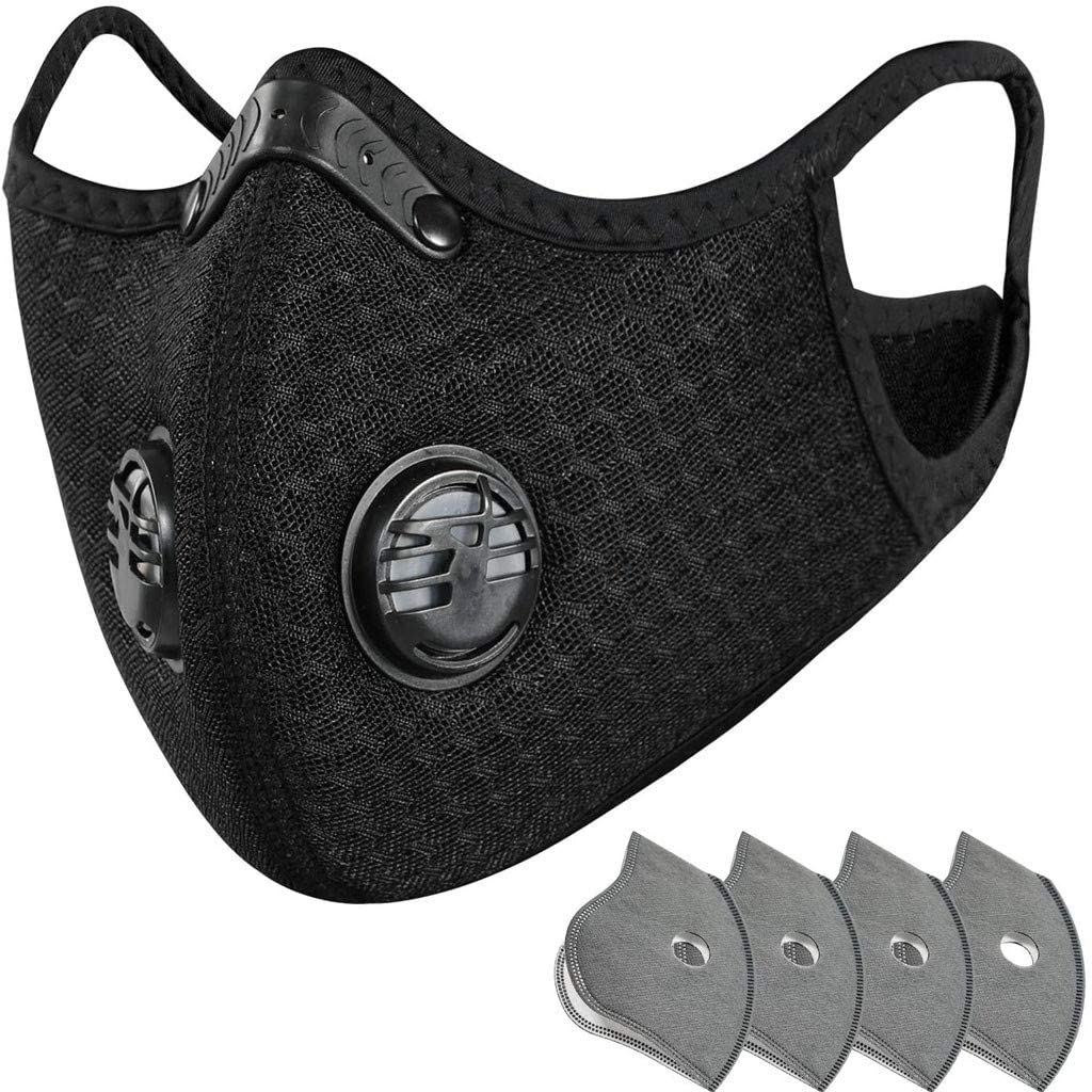 Reusable Face Protector, Washable Breathable Mouth Covering with 4 Replacement Activated Carbon Filters