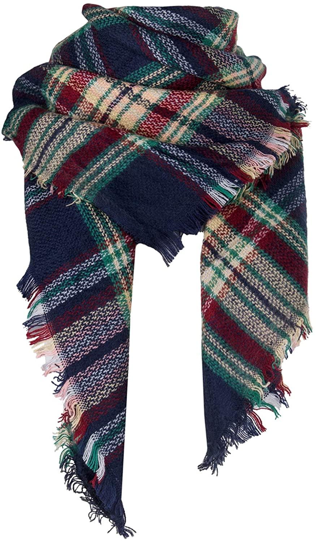 Qupish Plaid Blanket Winter Scarfs for Women Soft Warm Cozy Scarf Classic Chunky Oversized Wrap Shawl Scarves Gifts