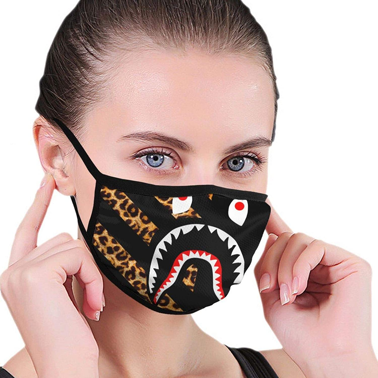 NiYoung Women Men Anti-Dust Windproof Face Mask for Party, Reusable Mouth Protection with Adjustable Elastic Strap (Animal Yellow Leopard Bapes Shark Teeth Logo Black Half Face Mouth Cover)
