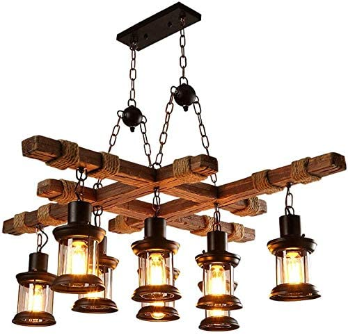 8-Light Farmhouse Pendant Chandelier Farmhouse Wood Kitchen Island Hanging Island Lighting Fixture Retro Industrial for Kitchen Dining Room Bar Restaurant