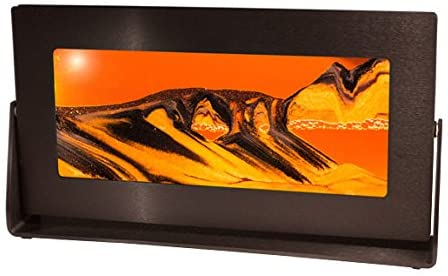 Exotic Sands Md33 - Hour Glass Sand Picture - Medium Black Frame (Sunset Orange) Great Gift! Perfect Quality Made in The USA. Office Toys, Desk Item. Sandscapes - Made in America