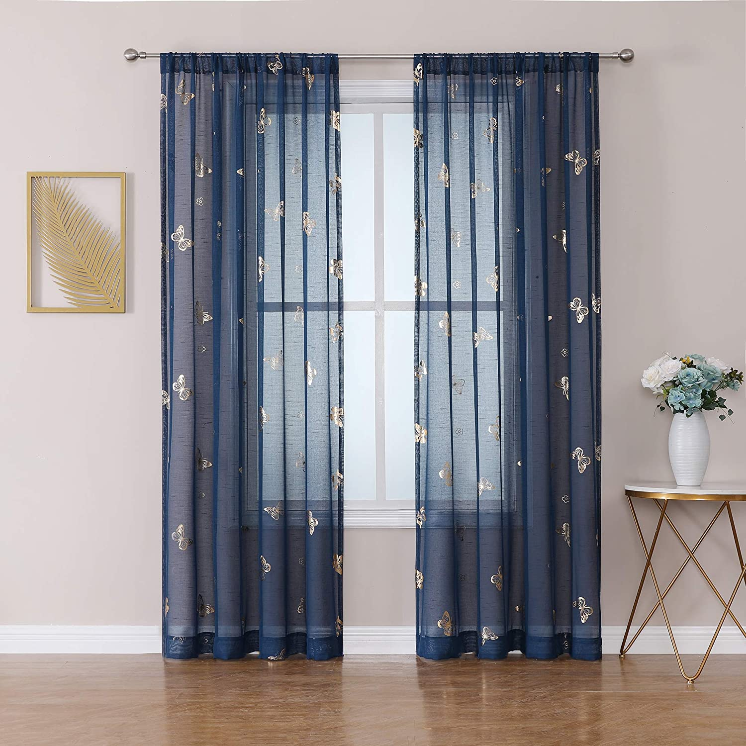 Jubilantex Window Sheer Curtain 84 Inches Long with Twinkle Gold Metallic Print Butterfly Juvenile Drapes, Rod Pocket Linen Texture Voile for Nursery, Kids Room, Living Room, Bedroom, 2 Panels, Blue