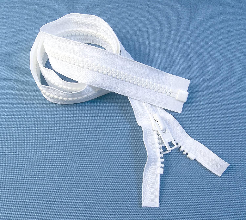 Zipper, 36 Inch, YKK, White, 10, Seperating Zipper, Double Metal Slider, Boat Canvas