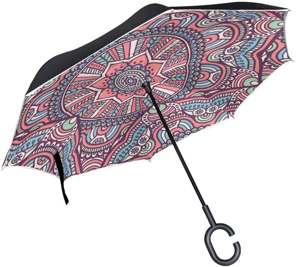 SUABO Double Layer Inverted Umbrellas Reverse Folding Umbrella Roma Pattern Design Windproof Umbrella for Car Rain Outdoor with C-Shaped Handle