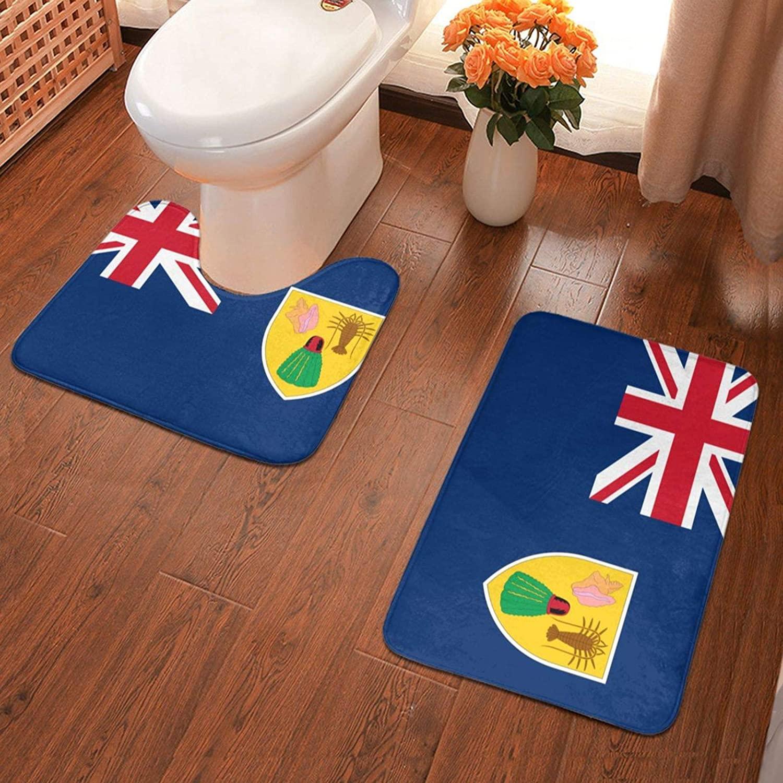 NiYoung Extra Soft Memory Foam Bathroom Rug Mat Set with 1 Floor Pad Rugs + 1 U-Shaped Bath Rug - Flag of The Turks and Caicos Islands 2 Pack Bathroom Rug Carpet for Tub and Shower