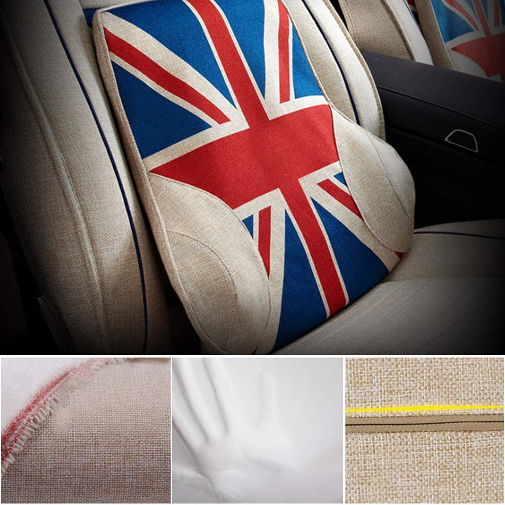 Car Lumbar Pillow Memory Foam Lumbar Support Back Cushion Designed for Lower Back Pain Relief - for Office Chair Car Seat (UK Flag, Red & Blue)