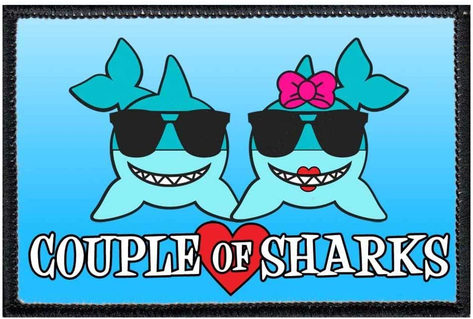 Couple of Sharks Morale Patch | Hook and Loop Attach for Hats, Jeans, Vest, Coat | 2x3 in | by Pull Patch
