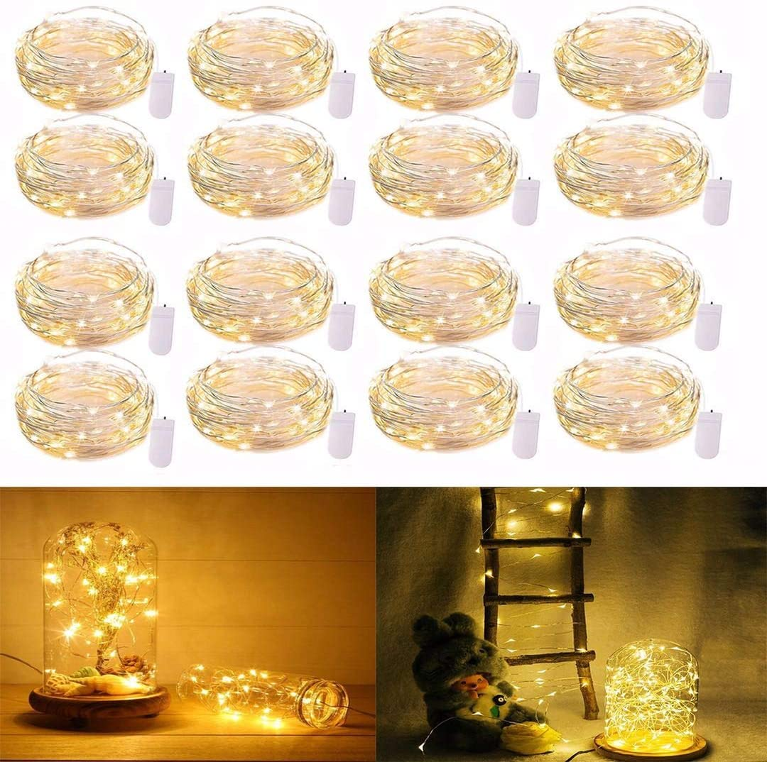 16 Pack Fairy Lights, Lights Battery Operated, 2 Ft 20 LED Waterproof Mini Firefly String Lights with Flexible Silver Wire for Wedding Bedroom Christmas Festival Decoration Warm White -4:1