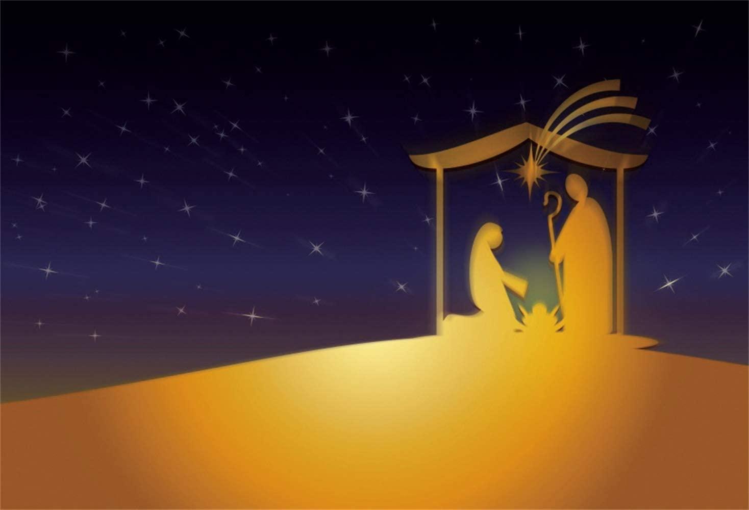 Leowefowa Wilderness Starry Nightsky Nativity Scene Backdrop 5x3ft Birth of Jesus Shabby Manger Shepherd Virgin Mary Silhouette Vinyl Photography Background Bible Story Wallpaper Photo Props