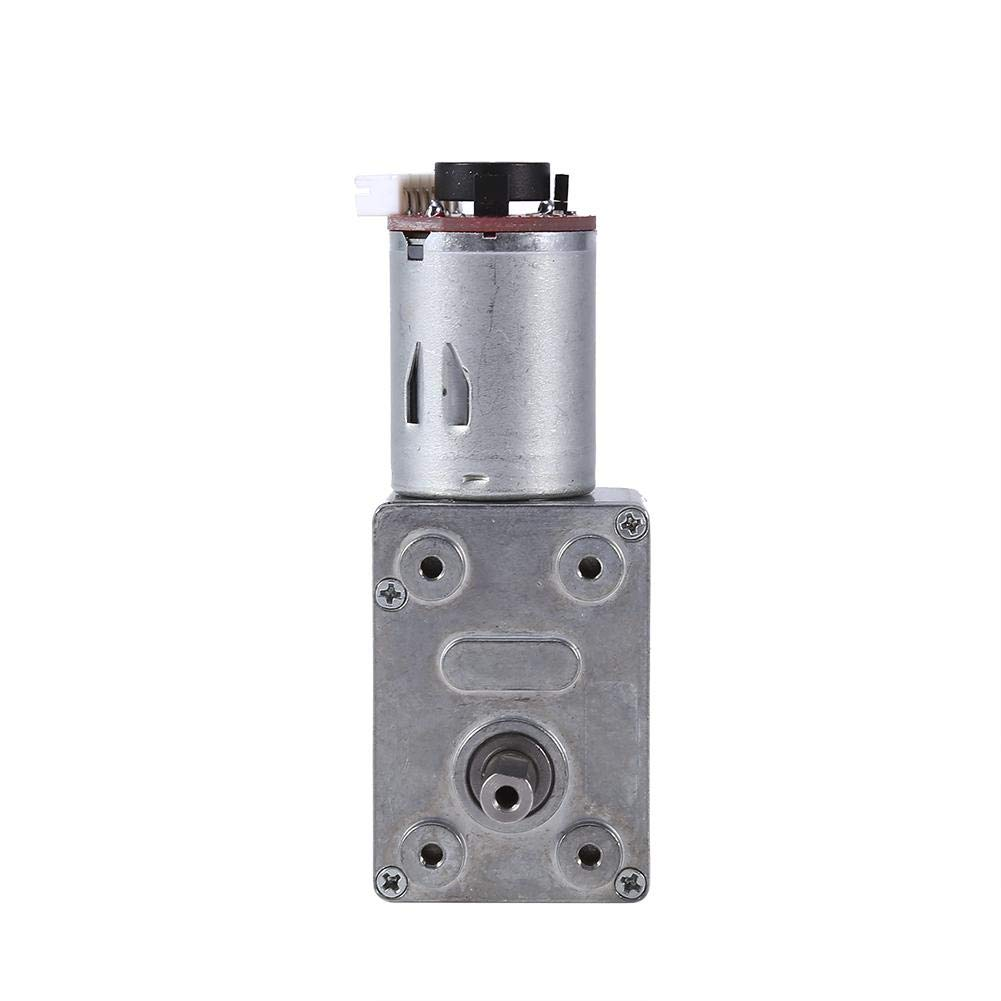 DC 12V Worm Gear Motor, Reversible High Torque Turbo Gear Motor Two-Phase Reduction Motor with Encoder Strong Self-Locking, Worm Geared Reduction Electric Gearbox Motor (100RPM)