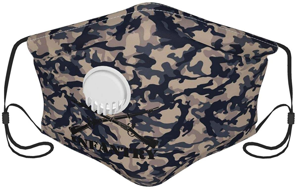 Army Infantry Branch Insignia Military Outdoor Mask,5-Layer Carbon Filters Adult Men Women Bandana with Brea-Thing-Valve