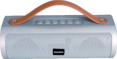 Sylvania 16-Inch Long Bluetooth Pill Style Speaker - Enjoy The Beats in Your Music! (Silver, Leather Handle)